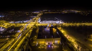 Lublin z drona w nocy
