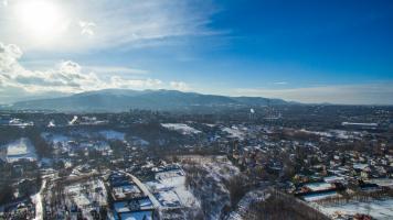 Zimowa panorama Bielska-Białej z lotu ptaka